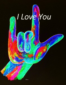 American Sign Language I LOVE YOU on Black by Eloise Schneider