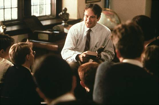 Robin Williams as John Keating in 'Dead Poets Society' via Huffington Post
